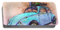 Classic Road Trip Ride Watercolour Sketch Portable Battery Charger