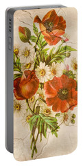 Classic Vintage Shabby Chic Rustic Poppy Bouquet Portable Battery Charger
