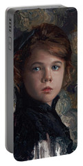 Portable Battery Charger featuring the painting Classical Portrait Of Young Girl In Victorian Dress by Karen Whitworth
