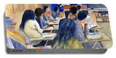 Portable Battery Charger featuring the painting Classroom Teacher And Her Students by Carlin Blahnik CarlinArtWatercolor