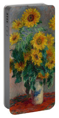 Portable Battery Charger featuring the painting Claude Monet - Bouquet Of Sunflowers - 1881.. by Celestial Images