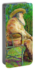 Claude Monet In His Garden Portable Battery Charger by Hidden Mountain