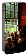 Portable Battery Charger featuring the photograph Clay Jars On Windowsill by Susan Savad