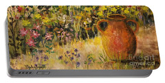 Portable Battery Charger featuring the painting Clay Pot In The Garden by Lou Ann Bagnall