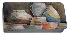 Portable Battery Charger featuring the painting Clay Pottery Still Lifes-a by Jean Plout