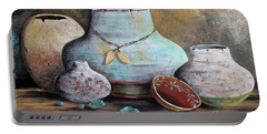 Portable Battery Charger featuring the painting Clay Pottery Still Lifes-b by Jean Plout
