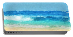 Clear Blue Waves Portable Battery Charger by Anthony Fishburne
