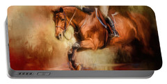 Clearing The Jump Equestrian Art Portable Battery Charger by Jai Johnson