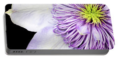 Portable Battery Charger featuring the photograph Clematis Center by Rebecca Cozart