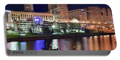 Portable Battery Charger featuring the photograph Cleveland And Tug Boats by Frozen in Time Fine Art Photography