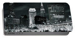 Cleveland Iconic Night Lights Portable Battery Charger by Frozen in Time Fine Art Photography