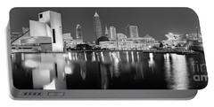 Cleveland Skyline At Dusk Black And White Portable Battery Charger