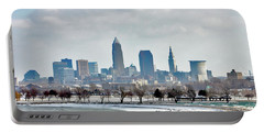 Cleveland Skyline In Winter Portable Battery Charger