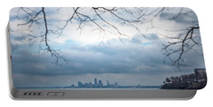 Cleveland Skyline With A Vintage Lens Portable Battery Charger