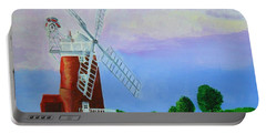 Portable Battery Charger featuring the painting Cley Mill by Rodney Campbell