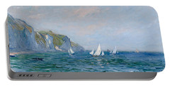 Cliffs And Sailboats At Pourville  Portable Battery Charger by Claude Monet