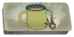 Climbing Mt Cocoa Illustrated Portable Battery Charger by Heather Applegate
