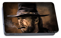 Portable Battery Charger featuring the digital art Clint by Andrzej Szczerski