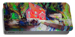Clinton New Jersey -the Red Mill  On The Raritan River  Watercol Portable Battery Charger by Bill Cannon