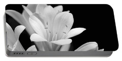 Clivia Flowers Black And White Portable Battery Charger