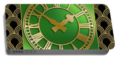 Portable Battery Charger featuring the digital art Clock With Border by Chuck Staley