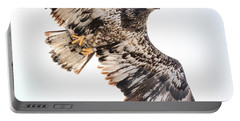 Close Call  With A Bald Eagle Portable Battery Charger by Ricky L Jones