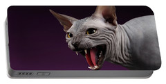 Close-up Aggressive Sphynx Cat Hisses On Purple Portable Battery Charger