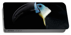 Close-up Channel-billed Toucan, Ramphastos Vitellinus, Isolated On Black Portable Battery Charger