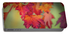 Close-up Of Red Maple Leaves In Autumn Portable Battery Charger