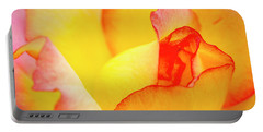 Close Up Of Yellow And Pink Rose Portable Battery Charger by Teri Virbickis