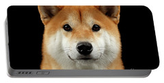 Close-up Portrait Of Head Shiba Inu Dog, Isolated Black Background Portable Battery Charger by Sergey Taran