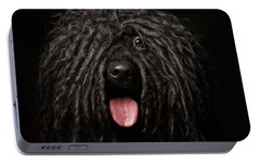 Close Up Portrait Of Puli Dog Isolated On Black Portable Battery Charger by Sergey Taran