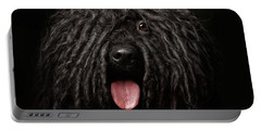 Close Up Portrait Of Puli Dog Isolated On Black Portable Battery Charger