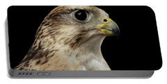 Close-up Saker Falcon, Falco Cherrug, Isolated On Black Background Portable Battery Charger by Sergey Taran