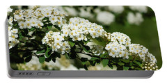Portable Battery Charger featuring the photograph Close-up White Spirea Bush by Cristina Stefan