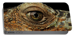 Closeup Eye Of Green Iguana, Looks Like A Dragon Portable Battery Charger by Sergey Taran
