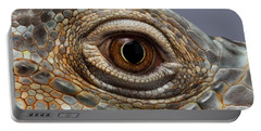 Closeup Eye Of Green Iguana Portable Battery Charger