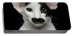 Closeup Funny Oriental Shorthair Looking At Camera Isolated, Bla Portable Battery Charger