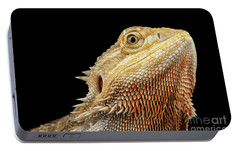 Closeup Head Of Bearded Dragon Llizard, Agama, Isolated Black Background Portable Battery Charger by Sergey Taran