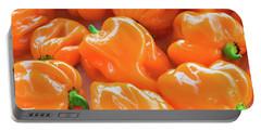 Closeup Of Fresh Chillies Habanero Orange Portable Battery Charger