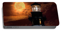 Closeup Of Full Moon Rising Over St Augustine Lighthouse Portable Battery Charger