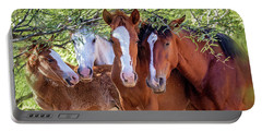 Closeup Of Herd Of Four Wild Horses Portable Battery Charger