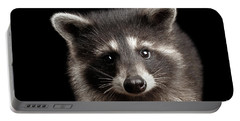 Closeup Portrait Cute Baby Raccoon Isolated On Black Background Portable Battery Charger