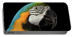 Closeup Portrait Of A Blue And Yellow Macaw Parrot Face Isolated On Black Background Portable Battery Charger