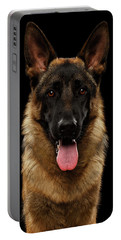 Closeup Portrait Of German Shepherd On Black  Portable Battery Charger