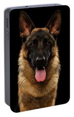 Closeup Portrait Of German Shepherd On Black  Portable Battery Charger by Sergey Taran
