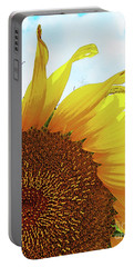 Closeup Poster Sunflower Portable Battery Charger