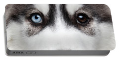 Closeup Siberian Husky Puppy Different Eyes Portable Battery Charger by Sergey Taran
