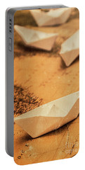 Closeup Toned Image Of Paper Boats On World Map Portable Battery Charger