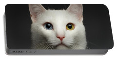 Closeup White Cat With  Heterochromia Eyes On Gray  Portable Battery Charger